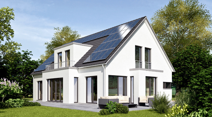 eco-friendly home with solar panels